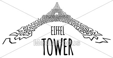 Eiffel Tower In Hand-drawn Doodle Style On White Stock Photo