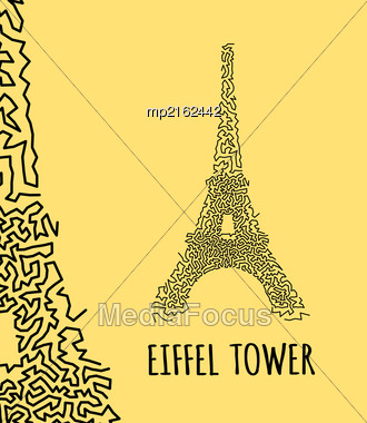 Eiffel Tower In Hand-drawn Doodle Style On Yellow Background Stock Photo
