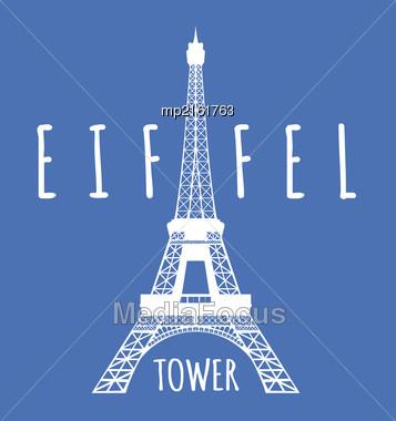 Eiffel Tower In Paris. Vector Illustration On Blue Stock Photo