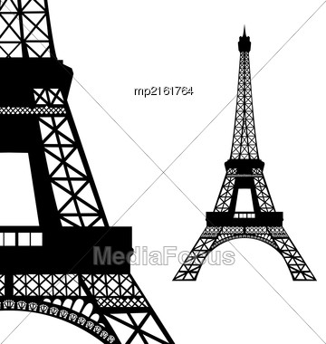 Eiffel Tower In Paris. Vector Illustration On White Stock Photo