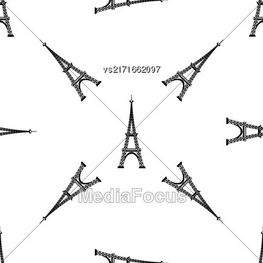 Eiffel Tower Seamless Background. French Tower Pattern. Symbol Of Paris Stock Photo