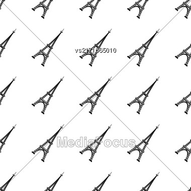 Eiffel Tower Seamless Background. French Tower Pattern Stock Photo