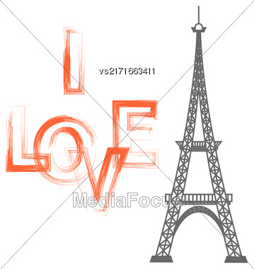 Eiffel Tower Silhouette And I Love You Text Isolated On White Background Stock Photo