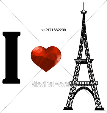 Eiffel Tower Silhouette And Red Polygonal Glass Heart Isolated On White Background Stock Photo