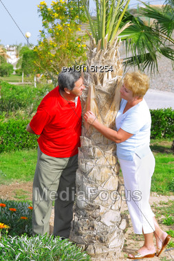 Elderly Couple Playfully Looks At Each Other In Tropical Country Stock Photo