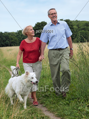 Elderly Couple Walking With Dog Stock Photo