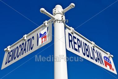 election choice conceptual post democratic donkey republican