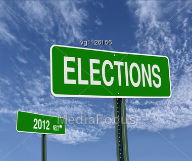 Elections Next 2012 Road Sign Over Blue Sky With Clouds,low Angle View Stock Photo