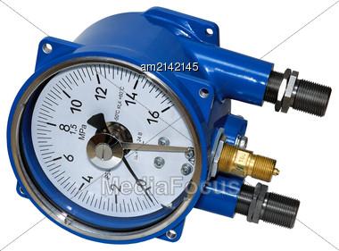 Electric Contact Pressure Gauge In Flameproof Enclosure Stock Photo