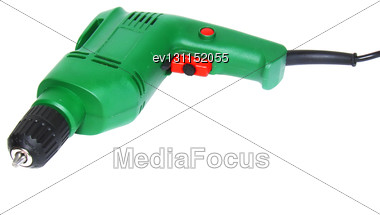 Electric Drill Isolated On White Background, Isolated Stock Photo