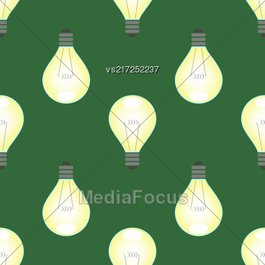 Electric Lamp Seamless Pattern On Green Background Stock Photo