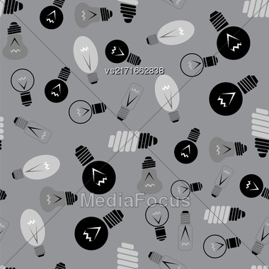 Electric Lamp Seamless Pattern On Grey Background Stock Photo