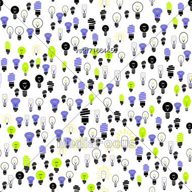 Electric Lamp Seamless Pattern On White Background Stock Photo