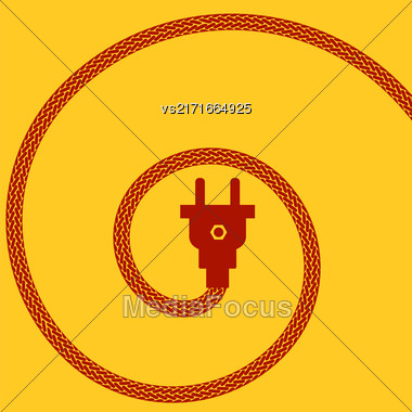 Electric Plug Concept On Orange Background. Spiral Braided Wire Stock Photo