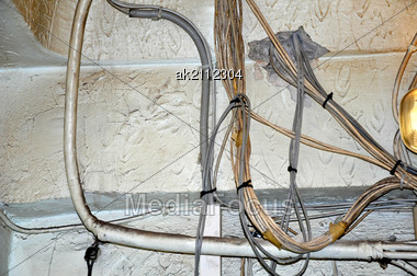 stock photo electric wires on wall are randomly image ak2112304 rh mediafocus com writing on walls behavior writing on wall bible