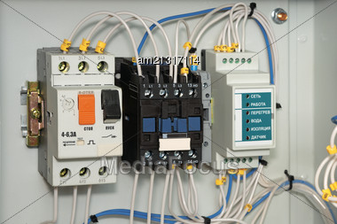 Electrical Board To Control The Submersible Pump. Close-up Stock Photo