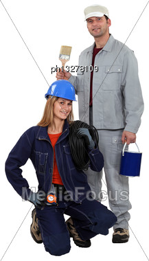 Electrician And Decorator Stock Photo