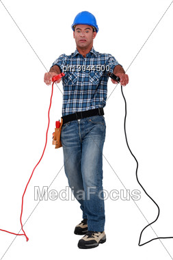 Electrician Electrocuted Stock Photo