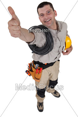Electrician Giving The All-clear Stock Photo