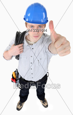 Electrician Giving The Thumb Up Stock Photo