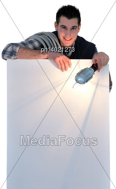 Electrician Holding Lamp Stock Photo