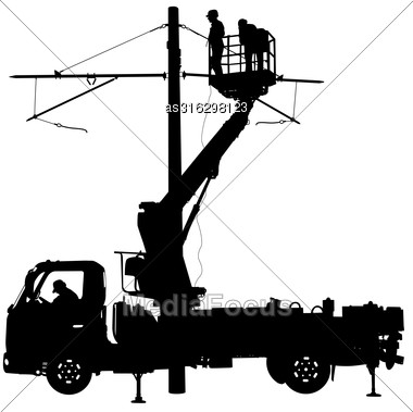 Electrician, Making Repairs At A Power Pole. Vector Illustration Stock Photo