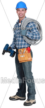 Electrician On His Way To Work Stock Photo