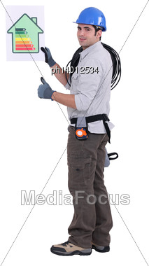 Electrician With Energy Poster Stock Photo