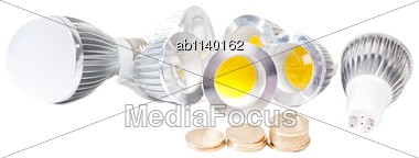Electricity Savings - Using Led Lights Instead Of Old Fashioned Bulbs Stock Photo