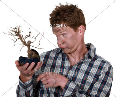 Electrocuted Man Holding A Plant Stock Photo