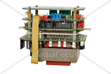 Electronic Unit With Industrial Equipment, Isolated On White Background. Stock Photo