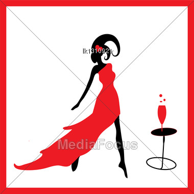 Elegant Black Silhouette Of Beautiful Woman With Hearts Stock Photo