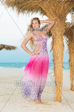 Elegant Blond Woman Posing In Pink Dress Near The Palm Stock Photo
