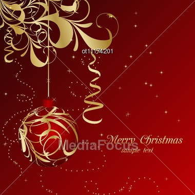 Elegant Christmas Floral Background With Balls Stock Photo