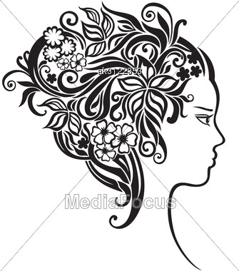 Elegant Line Art Of A Girl With A Flowers In Her Hair Stock Photo