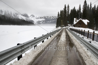 Emerald Lake Lodge In Winter Rocky Mountains Stock Photo