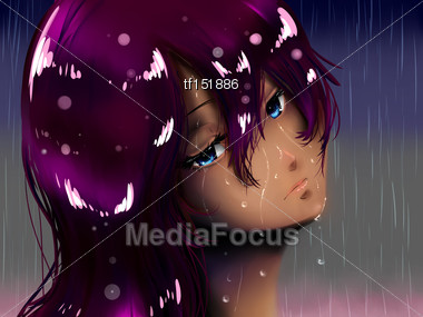 emotional girl face, hair and skin soaked in rain storm Stock Photo