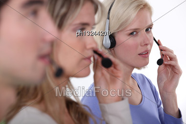 Employees In Call Center Stock Photo