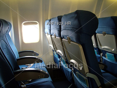Empty Airplane Cabin Stock Photo