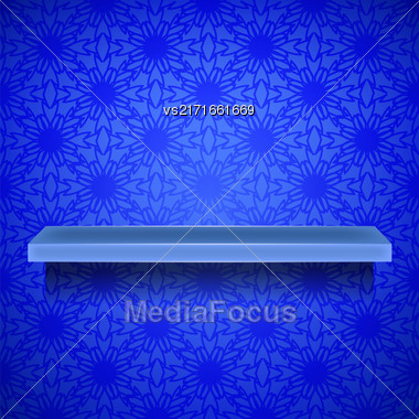 Empty Blue Shelf On Ornamental Blue Lines Background Stock Photo