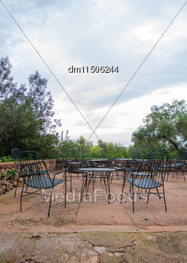 Empty Cafe Terrace Exterior With Chairs Stock Photo