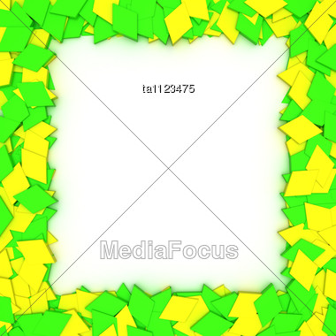 Empty Frame With Yellow-green Stars, Design Element Stock Photo
