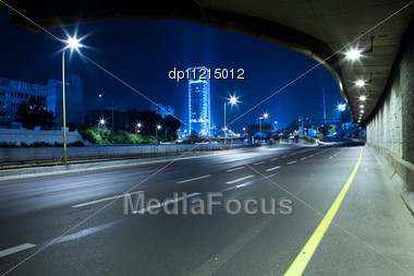 Empty Freeway At Night Stock Photo