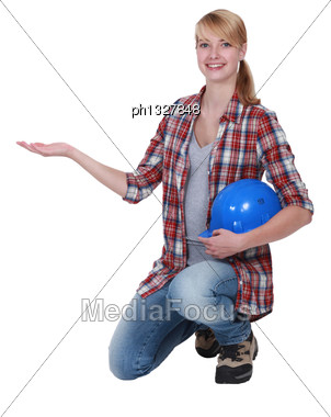 Empty-handed Tradeswoman Stock Photo