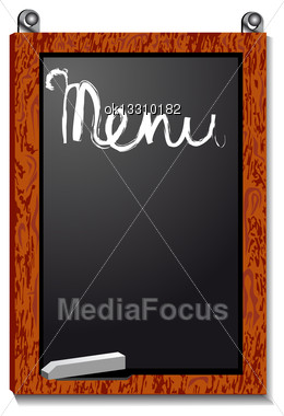 Empty Menu Board Isolated On White Background Stock Photo