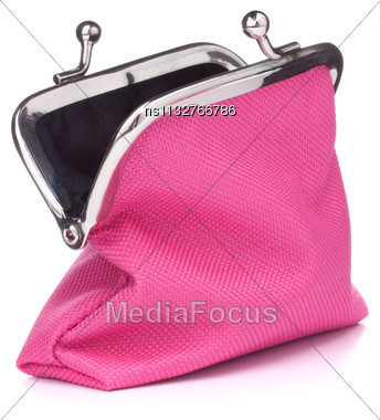 Empty Open Purse Isolated On White Background Cutout Stock Photo