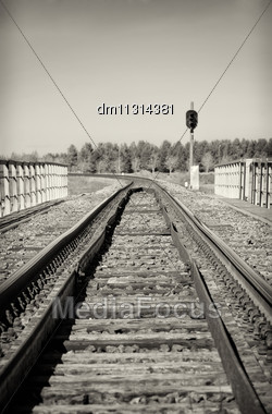 Empty Railroad Track With Semaphore Signal. Black And White Stock Photo