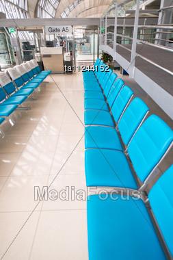 Empty Seats In Airport Lounge Of Suvarnabhumi, Bangkok, Thailand Stock Photo