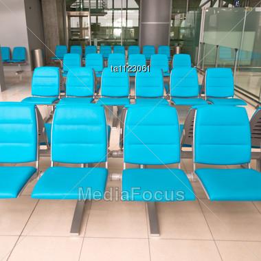 Empty Seats In Waiting Room Of Suvarnabhumi Airport, Bangkok, Thailand Stock Photo