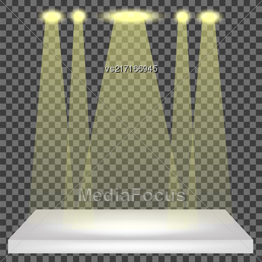 Empty Shelf Isolated On Checkered Pattern. Spotlights Set Stock Photo